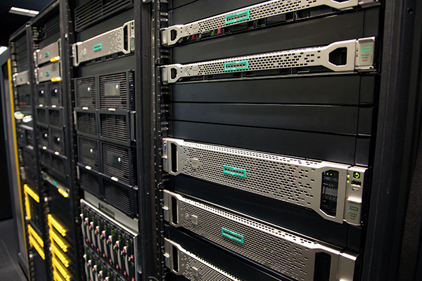 New server racks in the Hewlett Packard Enterprise Executive Briefing Center feature the new branding. CREDIT: Hewlett Packard Enterprise