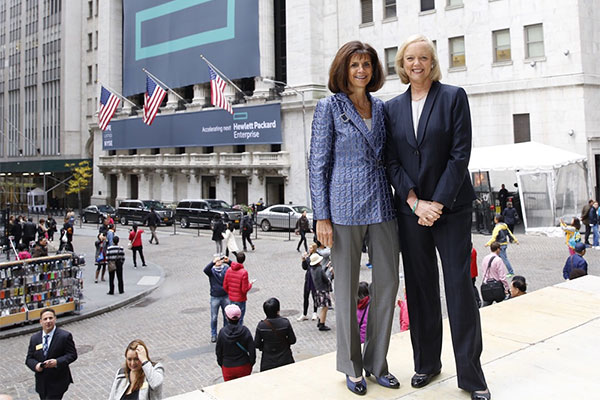 Hewlett Packard Enterprise President and Chief Executive Officer Meg Whitman and Hewlett Packard Enterprise Board Chairman Pat Russo outside the New York Stock Exchange.