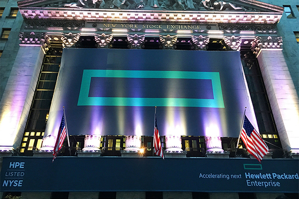 Hewlett Packard Enterprise logo on display at the New York Stock Exchange. CREDIT: Hewlett Packard Enterprise